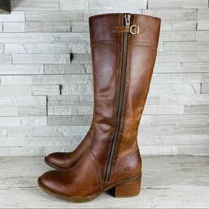 Born EUC Poly Tall Leather Riding Boots 9M